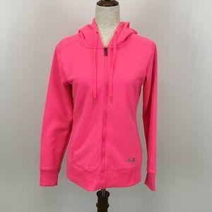 Under Armour Small Sweatshirt Zip Up Neon Pink
